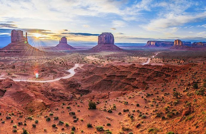 Point de vue sur Monument Valley aux USA